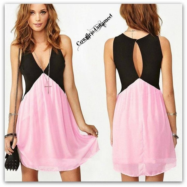 COWGIRL GYPSY DRESS Black Deep V Neck Pink Chiffon Open Back Western Mini Dress