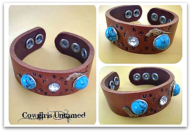 "COWGIRL ATTITUDE CUFF ""Untamed Cowgirl"" Pistol n Boot Charm Turquoise Rhinestone Studded Leather Bracelet"