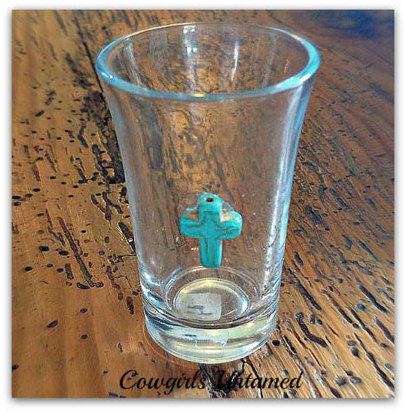 COWGIRL STYLE GLASS Silver Turquoise Cross Western Shot Glass