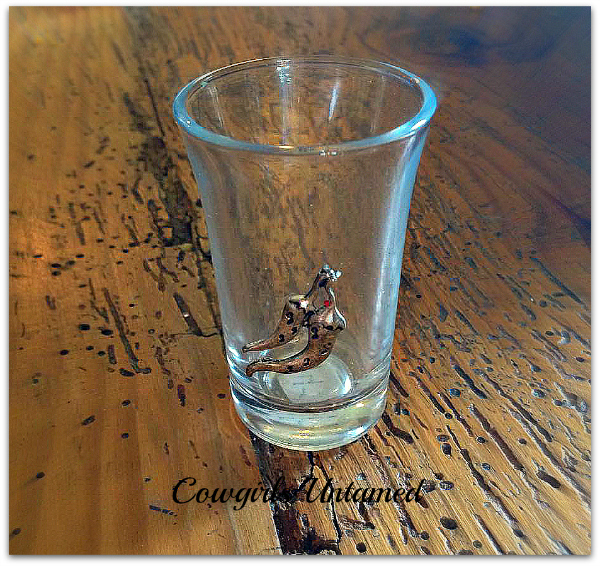 COWGIRL STYLE GLASS Silver Hot Chili Western Shot Glass