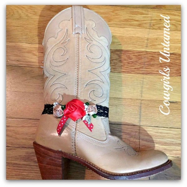 WILDFLOWER BOOT JEWELRY Christmas Red Silk Rose and Polka Dot Ribbon with Pearls & Crystals and Antique Silver Horse Charm Boot Cuff