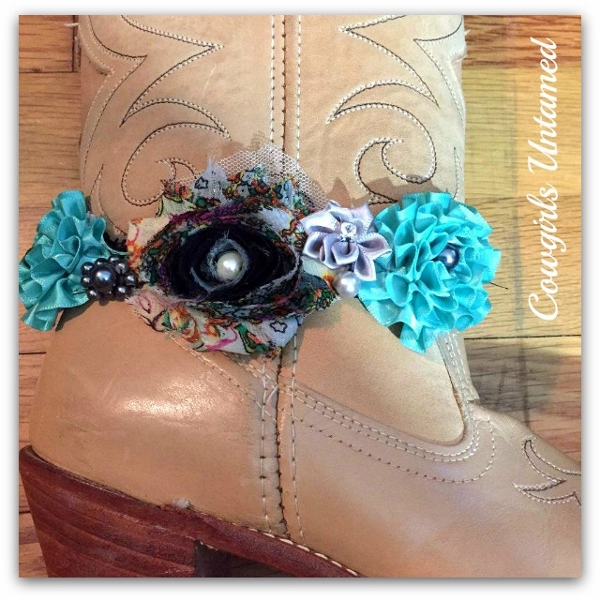 WILDFLOWER BOOT JEWELRY Black Mesh Rose and Ribbon with Pearls & Crystals and Antique Silver Horse Charm Boot Cuff