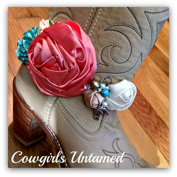 WILDFLOWER BOOT GARTER  Pink Silk Rose Pearls Crystals and Horse Charm Boot Cuff