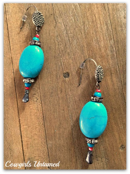 WESTERN COWGIRL EARRINGS Turquoise Sterling Silver & crystal earrings