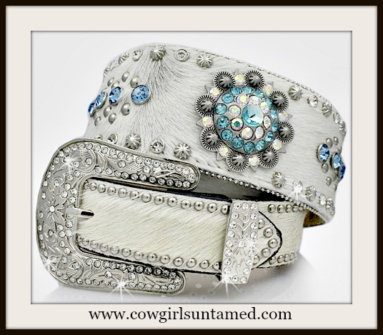 WESTERN COWGIRL BELT Blue Crystal Antique Silver Conchos on White Hair on Hide WIDE Leather Belt