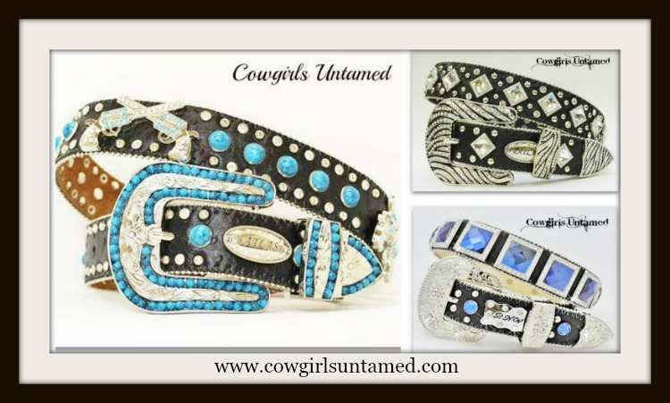 COWGIRL STYLE RHINESTONE BELT 3 PACK LARGE Blue/Black, Clear/Black and Turquoise/Black Leather Belt Pack