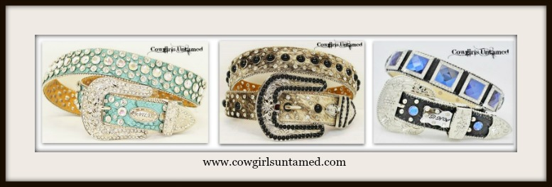 COWGIRL STYLE RHINESTONE BELT 3 PACK MEDIUMS Blue/Black, Brown/Black and Clear/Turquoise Belt Pack