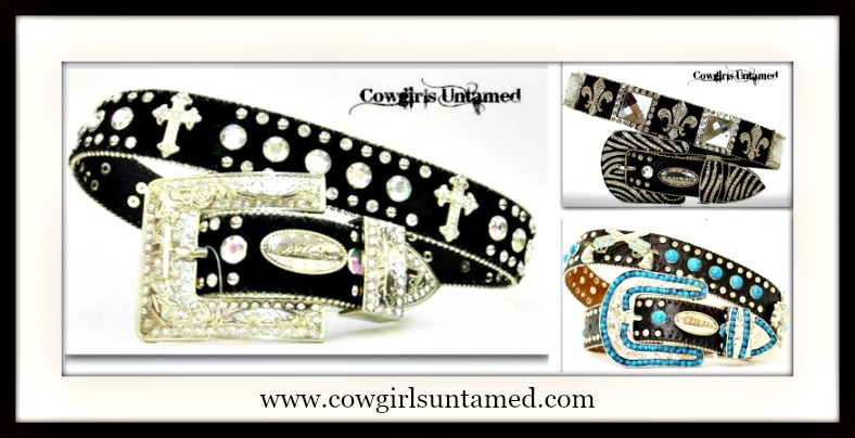 COWGIRL STYLE RHINESTONE BELT 3 PACK XLARGE Cross/Black, Fleur De Lis/Black and Turquoise/Black Leather Belt Pack