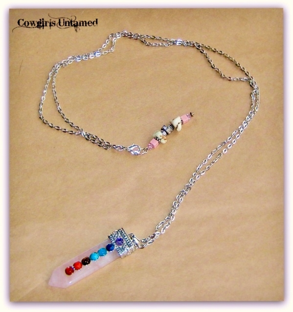 COWGIRL GYPSY NECKLACE Rose Quartz Gemstone with 7 Chakra Gemstone Pendant Necklace