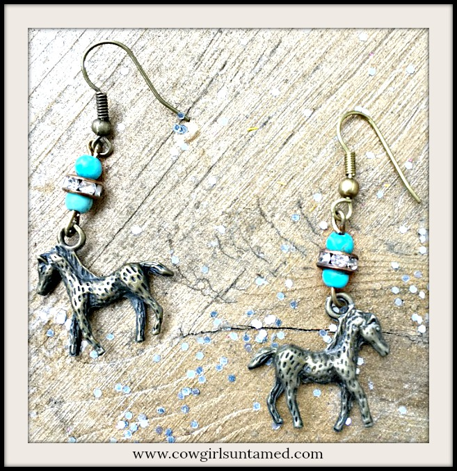 VINTAGE COWGIRL EARRINGS Antique Bronze Horse on Turquoise Rhinestone Western Earrings