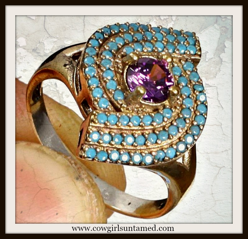 VINTAGE GYPSY RING Purple Amethyst Turquoise .925 Silver & Bronze Ring