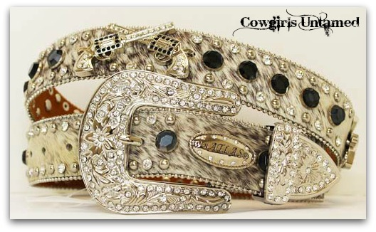 COWGIRL OUTLAW BELT Silver Crystal Sixshooter Black Rhinestone on Hair on Hide Leather Western Belt