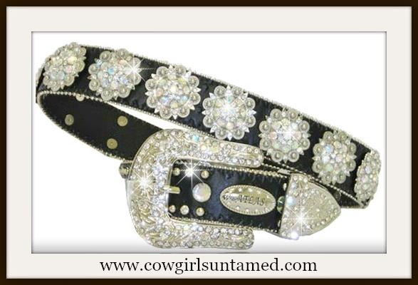 WESTERN COWGIRL BELT Rhinestone Concho with Crystal Silver Buckle on Leather Western belt by Atlas