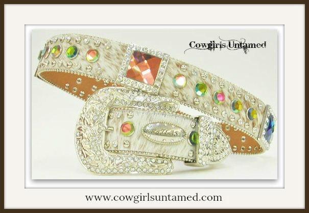 COWGIRL BELT Rhinestone Studded N Prism Crystal Concho White Brindle Hair on Hide Western Belt