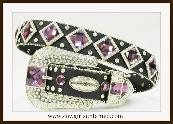 ATLAS BELT Rhinestone Studded Purple Crystal Diamond Concho with Silver Rhinestone Buckle on Black Western Belt