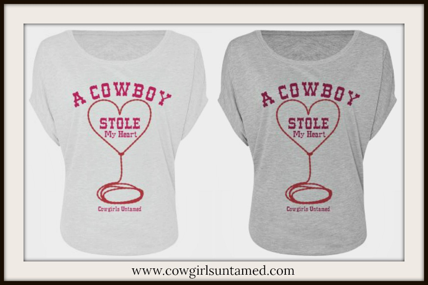 """COWGIRL ATTITUDE TOP """"A COWBOY {lasso heart} Stole My Heart"""" Loose Fit Dolman Sleeve Top"""