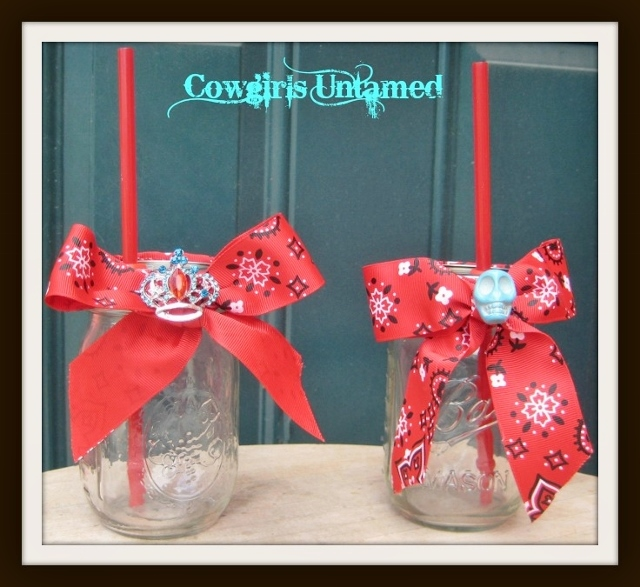COWGIRL STYLE DECOR Red Bandanna Bow Western Redneck Glasses Mason Jar Sippy Cups with Straw