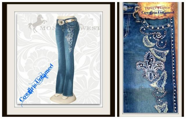 MONTANA WEST JEANS Vintage Yellow & Light Blue Embroidered Fleur De Lis Rhinestone Studded Western Jeans