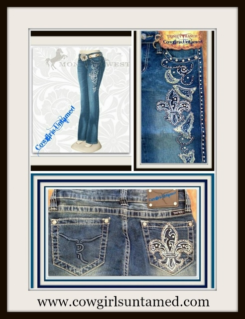 MONTANA WEST JEANS Vintage Yellow & Light Blue Embroidered Fleur De Lis Rhinestone Studded Jeans