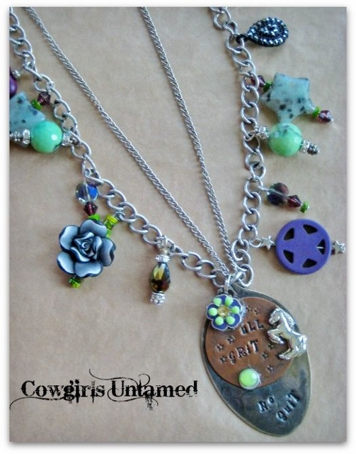 "COWGIRL ATTITUDE NECKLACE ""All Grit & No Quit"" with Crystal Gemstone Green Purple Charms on Oval Pendant Double Stranded Necklace"