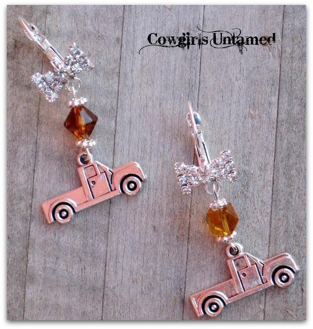 COUNTRY COWGIRL EARRINGS Silver Farm Truck Charm with Amber Crystal on Rhinestone Western Earrings