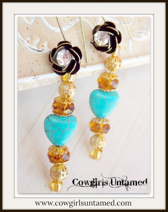 COWGIRL GYPSY EARRINGS Turquoise Heart Crystal Antique Bronze Rhinestone Earrings