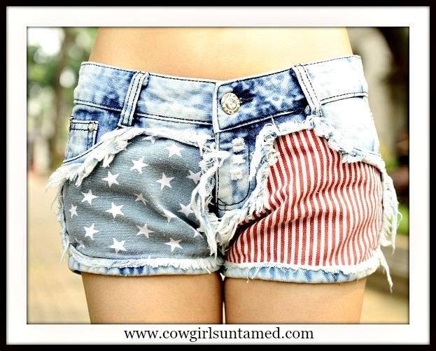 AMERICAN COWGIRL SHORTS American Flag Blue Stars N Red Stripes Denim Jean Western Shorts