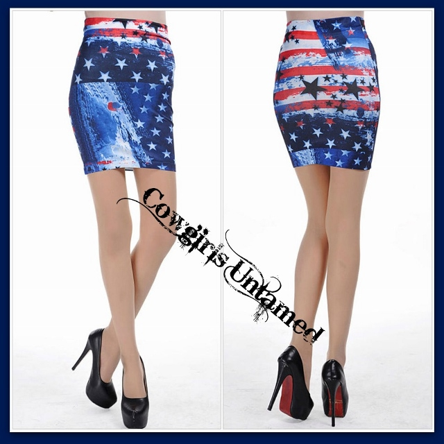 AMERICAN COWGIRL SKIRT Red White N' Blue Stars & Stripes American Flag Collage Skirt