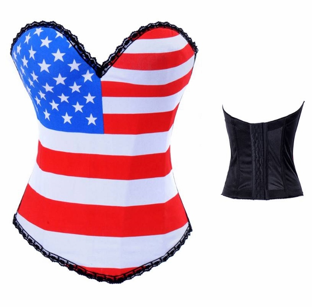 CORSET - American Flag Hook N Eye Back Stretchy Western Corset