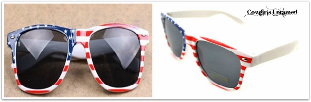 AMERICAN COWGIRL SUNGLASSES Red White & Blue Stars N' Stripes Retro Sunglasses
