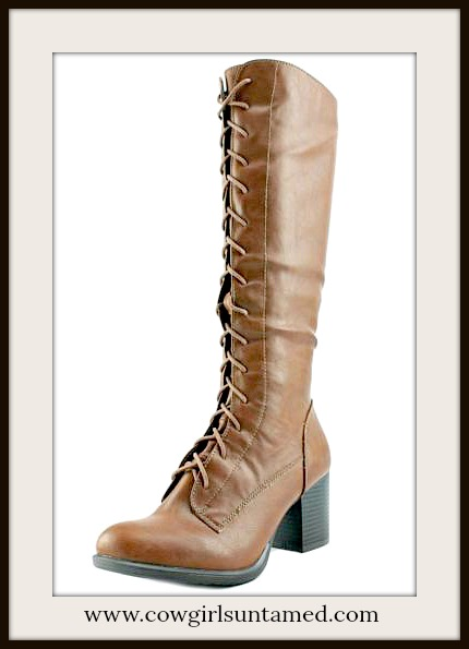 COWGIRL GYPSY BOOTS Brown Lace Up Knee High Designer Leather Riding Boots