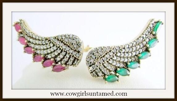 VINTAGE GYPSY BRACELET African Ruby and Emrald Angel Wing 925 Silver Bracelet