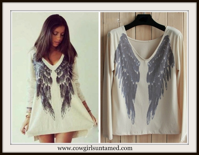 COWGIRL GYPSY SWEATSHIRT Long Sleeve Loose Angel Wing V-Neck Sweater