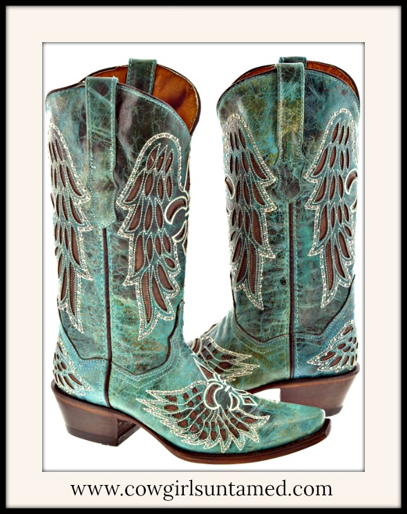 RODEO REBEL BOOTS Embroidered Fleur De Lis Rhinestone Studded Brown Underlay Teal N Turquoise Cowgirl Boots