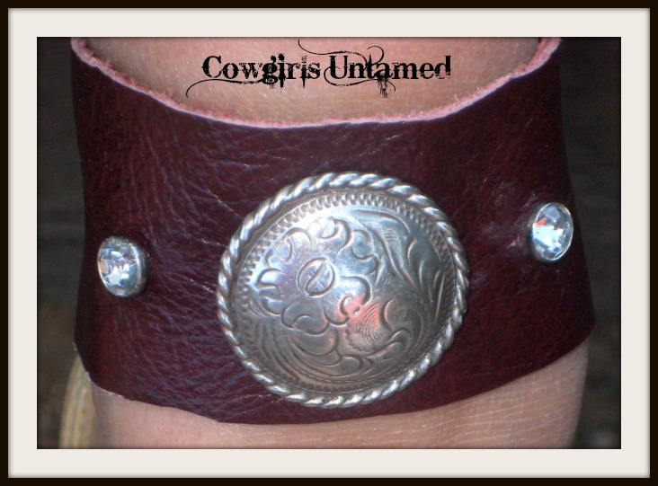 COWGIRL STYLE CUFF Silver Concho Brown GENUINE Leather Western Cuff Bracelet or Anklet