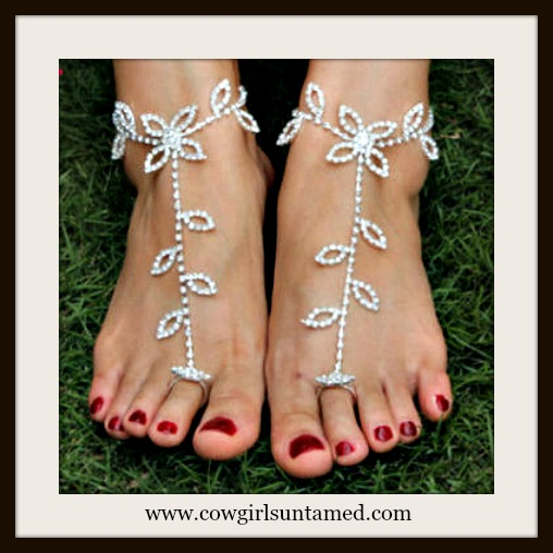 WILDFLOWER ANKLET TOE RING SET Rhinestone Floral Anklet and Toe Ring Barefoot Sandal