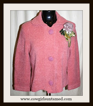 COWGIRL JUNK GYPSY SWEATER Pink Knit Button Front Cardigan with Velvet Flower Pin