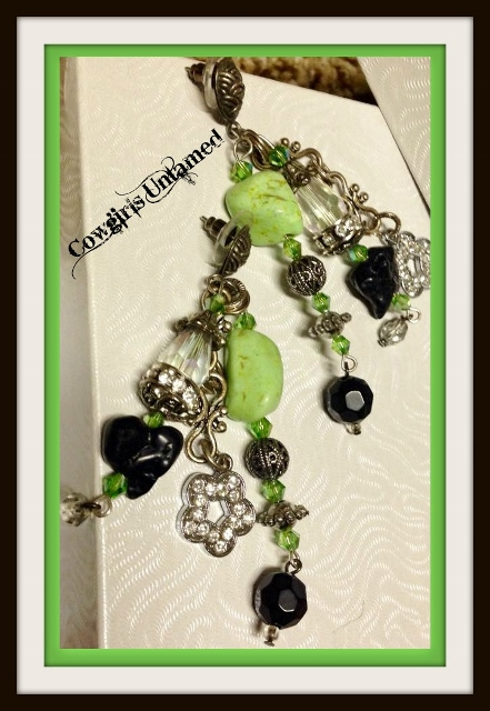 COWGIRL GYPSY EARRINGS Green and Black Turquoise Rhinestone Flowers and Antique Silver Crystal Beaded Charm Earrings