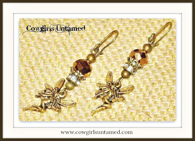 COUNTRY COWGIRL EARRINGS Antique Bronze Fairy Brown Crystal & Rhinestone Western Earrings