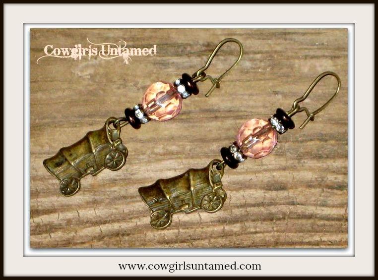 "COWGIRL STYLE EARRINGS Antique Bronze ""Wild West"" Wagon N Pink Crystal Western Dangle Earrings"