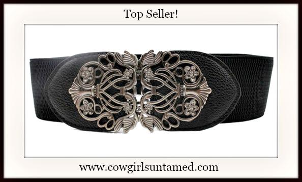 VINTAGE COWGIRL BELT Antique Silver Filigree Buckle on Black Stretchy Wide Belt