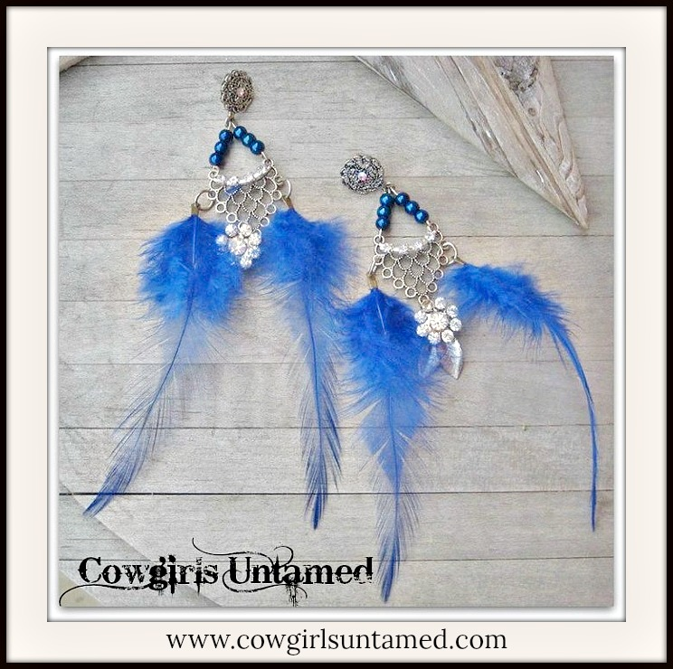 COWGIRL GYPSY EARRINGS Antique Silver Rhinestones on Iridescent Blue Beaded Blue Feather n Antique Rhinestone Charms Long Chandelier Western Earrings