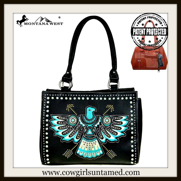 AMERICAN COWGIRL HANDBAG Aqua Eagle Embroidered Studded Rhinestone Concealed Weapon Handbag