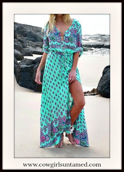 BOHEMIAN COWGIRL DRESS Multi Color Paisley Floral Slit V Neck Boho Maxi Dress