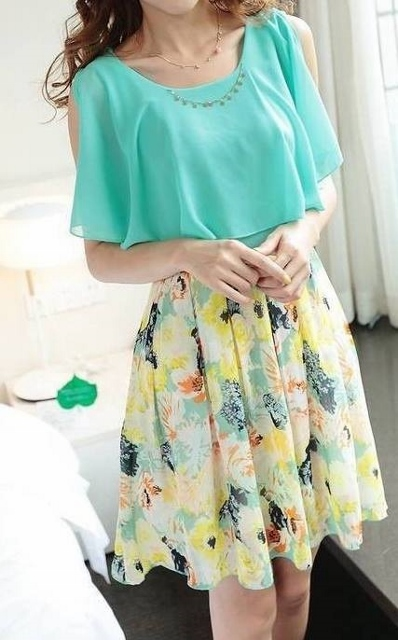 COUNTRY COWGIRL DRESS Aqua Green Chiffon Cutout Shoulder Dolman Sleeve with Floral Skirt Western Dress with FREE White Stretchy Belt