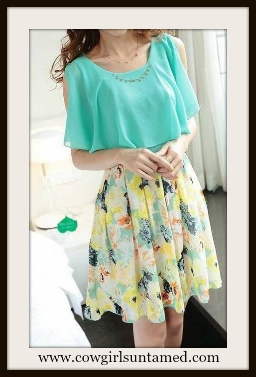 COUNTRY COWGIRL DRESS Aqua Green Chiffon Cutout Shoulder Floral Slirt   FREE BELT