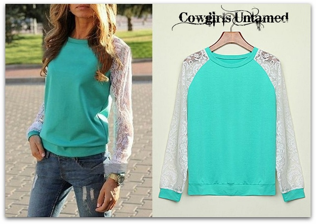 COWGIRL STYLE TOP White Lace Sleeve on Aqua Blue Pullover Sweatshirt Top