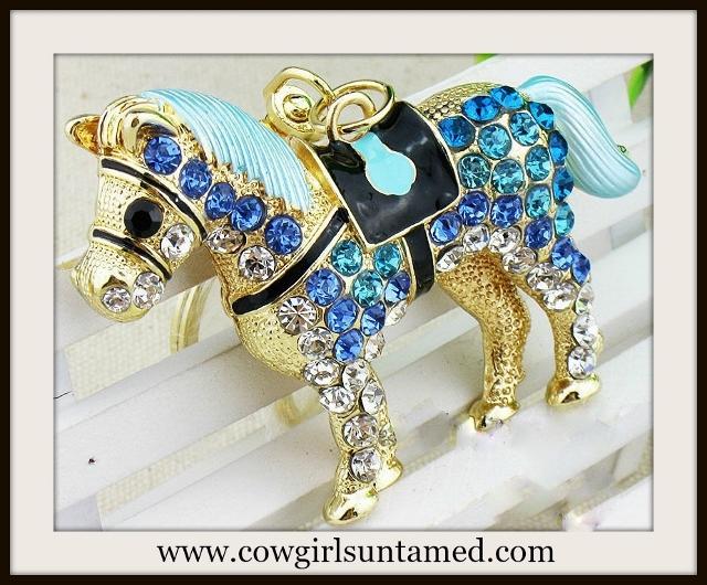 HORSE LOVIN' COWGIRL Beautiful Aqua and Blue Rhinestone and Gold Horse Keychain
