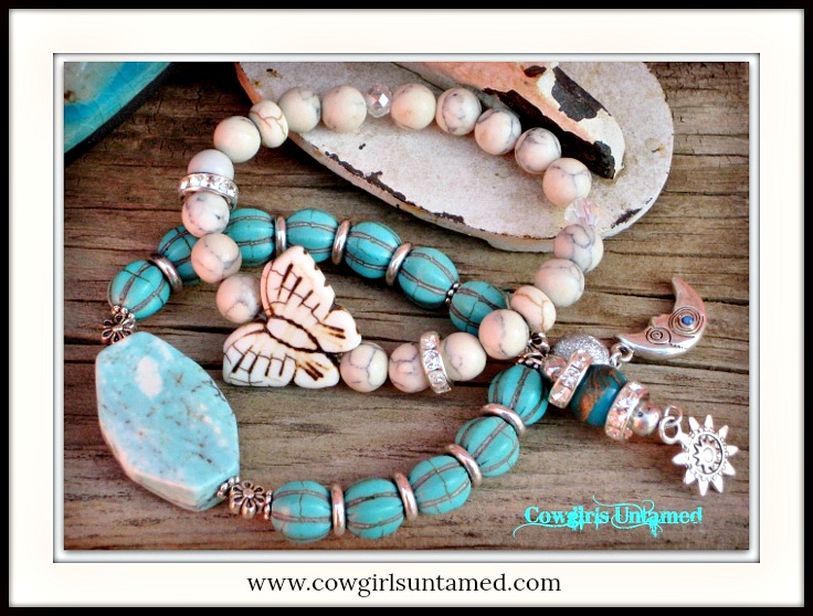 COWGIRL STYLE BRACELET SET Ivory Turquoise Butterfly Crystal Gemstone Beaded Stretch Charm Bracelet SET