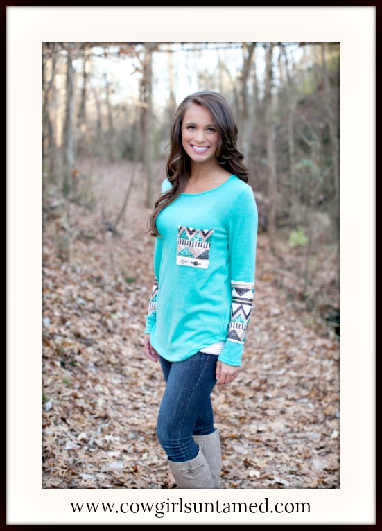 COWGIRL GLAM TOP Sequin Pocket and Sleeve Hem Aqua Long Sleeve Top
